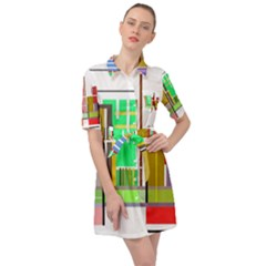 Business Finance Statistics Graphic Belted Shirt Dress by Simbadda