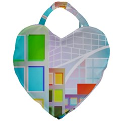 City Modern Business Skyscrapers Giant Heart Shaped Tote