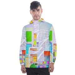City Modern Business Skyscrapers Men s Front Pocket Pullover Windbreaker