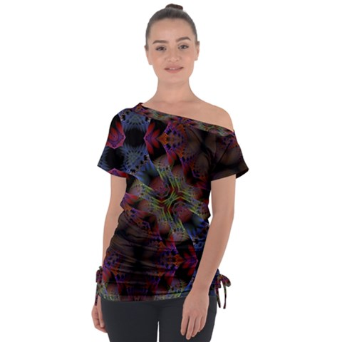 Animated Ornament Background Fractal Art Tie-up Tee by Simbadda