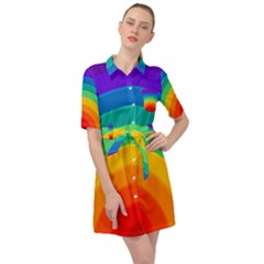 Rainbow Background Colorful Belted Shirt Dress by Simbadda