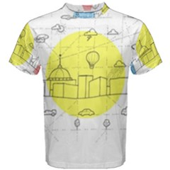 Urban City Skyline Sketch Men s Cotton Tee by Simbadda