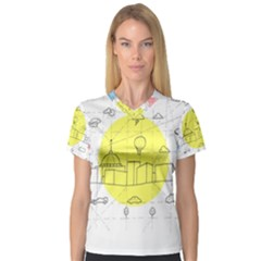 Urban City Skyline Sketch V Neck Sport Mesh Tee by Simbadda