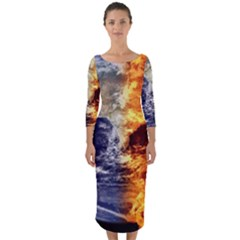Earth World Globe Universe Space Quarter Sleeve Midi Bodycon Dress by Simbadda