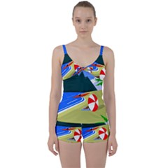 Beach Summer Sea Ocean Water Sand Tie Front Two Piece Tankini by Simbadda