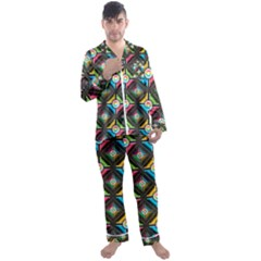 Seamless Pattern Background Abstract Men s Satin Pajamas Long Pants Set
