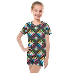 Seamless Pattern Background Abstract Kids  Mesh Tee And Shorts Set