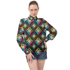Seamless Pattern Background Abstract High Neck Long Sleeve Chiffon Top
