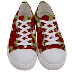 Mistletoe Christmas Texture Advent Women s Low Top Canvas Sneakers