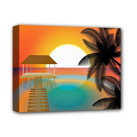 Sunset Beach Beach Palm Ocean Deluxe Canvas 14  X 11  (stretched) by Simbadda