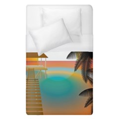 Sunset Beach Beach Palm Ocean Duvet Cover (single Size) by Simbadda