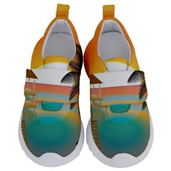 Sunset Beach Beach Palm Ocean Kids  Velcro No Lace Shoes by Simbadda