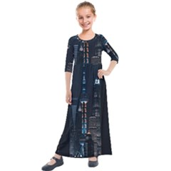Lighted Tower Beside Building Kids  Quarter Sleeve Maxi Dress by Simbadda