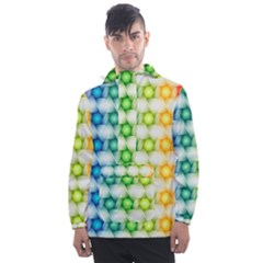 Background Colorful Geometric Men s Front Pocket Pullover Windbreaker