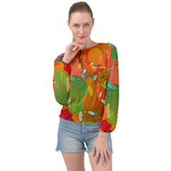 Background Colorful Abstract Banded Bottom Chiffon Top by Simbadda
