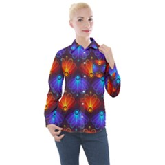 Background Colorful Abstract Women s Long Sleeve Pocket Shirt