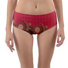 Background Tribal Ethnic Red Brown Reversible Mid Waist Bikini Bottoms by Simbadda