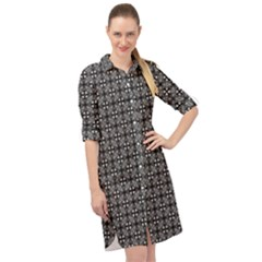 Pattern Background Black And White Long Sleeve Mini Shirt Dress