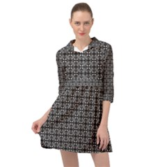 Pattern Background Black And White Mini Skater Shirt Dress