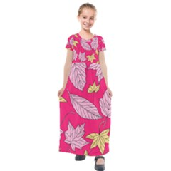 Autumn Dried Leaves Dry Nature Kids  Short Sleeve Maxi Dress by Simbadda