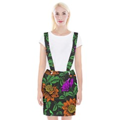 Floral Background Drawing Braces Suspender Skirt by Simbadda