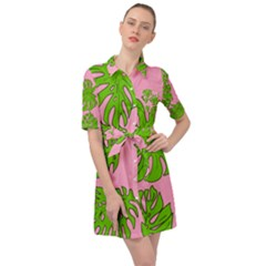 Leaves Tropical Plant Green Garden Belted Shirt Dress
