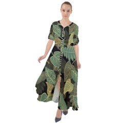 Autumn Fallen Leaves Dried Leaves Waist Tie Boho Maxi Dress