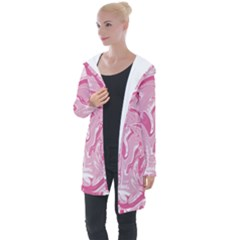 Marble Painting Texture Pattern Pink Longline Hooded Cardigan by Simbadda