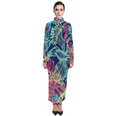 Leaves Tropical Picture Plant Turtleneck Maxi Dress by Simbadda