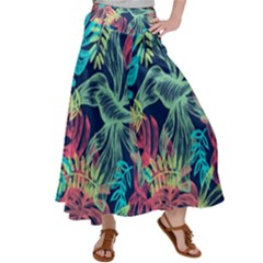 Leaves Tropical Picture Plant Satin Palazzo Pants by Simbadda