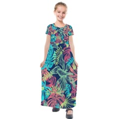 Leaves Tropical Picture Plant Kids  Short Sleeve Maxi Dress by Simbadda
