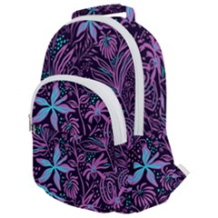 Stamping Pattern Leaves Drawing Rounded Multi Pocket Backpack by Simbadda