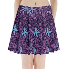 Stamping Pattern Leaves Drawing Pleated Mini Skirt by Simbadda