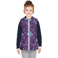 Stamping Pattern Leaves Drawing Kids  Hooded Puffer Vest by Simbadda