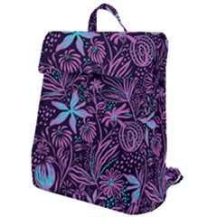 Stamping Pattern Leaves Drawing Flap Top Backpack by Simbadda
