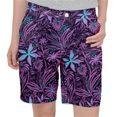 Stamping Pattern Leaves Drawing Pocket Shorts by Simbadda