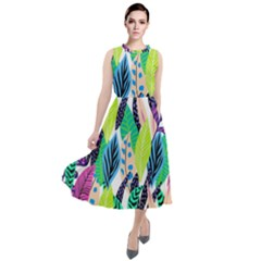 Leaves Drawing Pattern Nature Round Neck Boho Dress