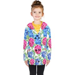 Flowers Floral Picture Flower Kids  Double Breasted Button Coat by Simbadda
