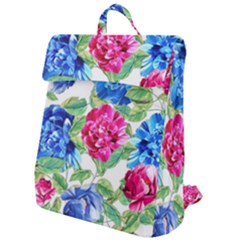 Flowers Floral Picture Flower Flap Top Backpack by Simbadda