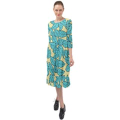 Leaves Dried Leaves Stamping Blue Yellow Ruffle End Midi Chiffon Dress