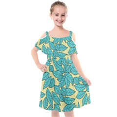 Leaves Dried Leaves Stamping Blue Yellow Kids  Cut Out Shoulders Chiffon Dress by Simbadda