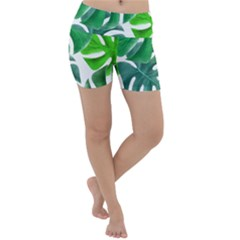 Tropical Greens Leaves Design Lightweight Velour Yoga Shorts by Simbadda