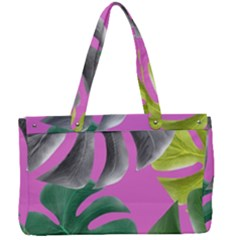 Tropical Greens Leaves Design Canvas Work Bag