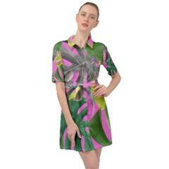 Tropical Greens Leaves Design Belted Shirt Dress by Simbadda