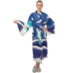 Leaves Tropical Blue Green Nature Maxi Tie Front Velour Kimono by Simbadda
