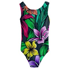 Hibiscus Flower Plant Tropical Kids  Cut Out Back One Piece Swimsuit by Simbadda