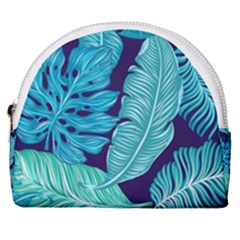 Tropical Greens Leaves Design Horseshoe Style Canvas Pouch by Simbadda
