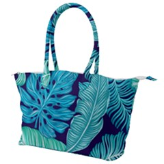 Tropical Greens Leaves Design Canvas Shoulder Bag by Simbadda