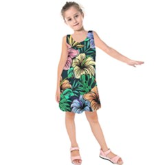 Hibiscus Flower Plant Tropical Kids  Sleeveless Dress by Simbadda