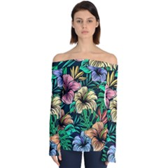 Hibiscus Flower Plant Tropical Off Shoulder Long Sleeve Top by Simbadda